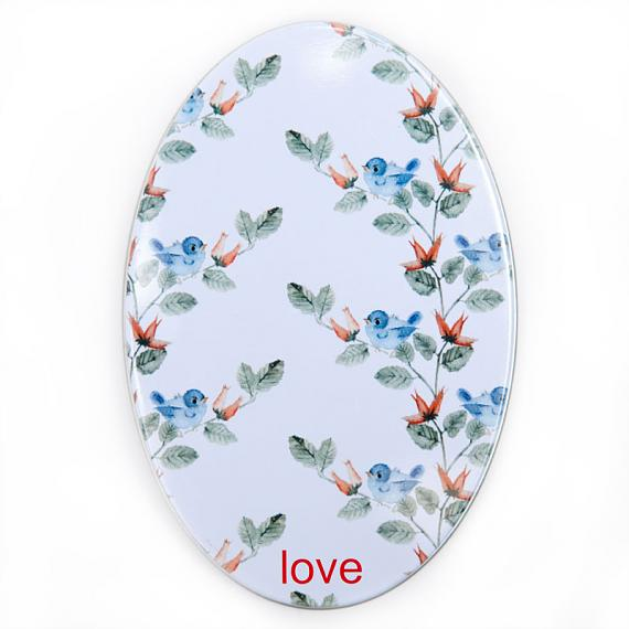 Love Hate Tin for Wooden Birdhouse Brooch