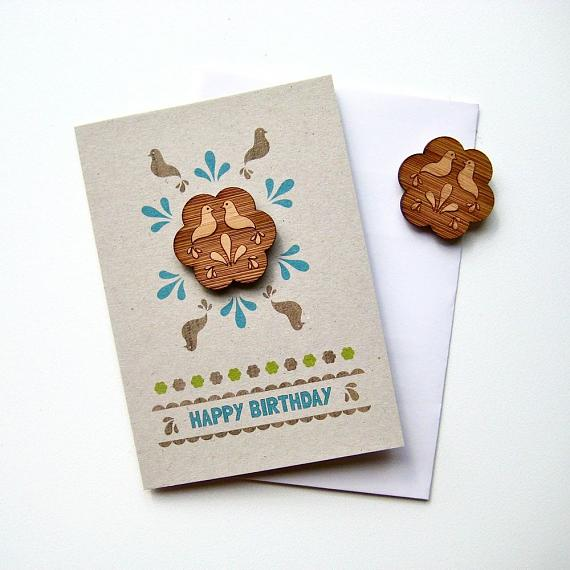 Folk Flower Happy Birthday Magnet Card by Bird of Play