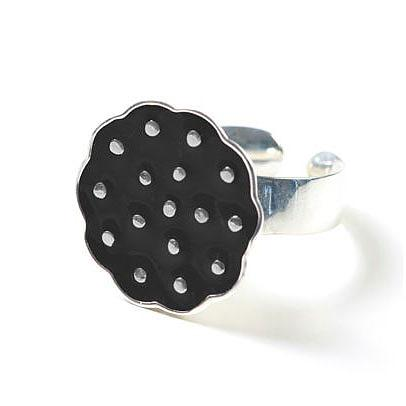 Sterling Silver Lotus Ring - Black by Polli