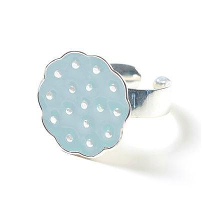 Sterling Silver Lotus Ring - Dusty Blue by Polli