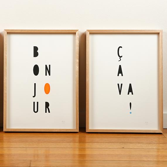 Neon Typographic Limited Edition Screen Prints on Paper handmade in Australia by me and amber