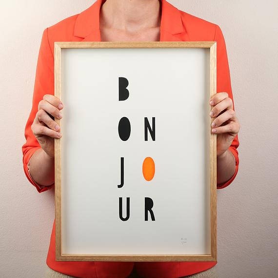 Orange Bonjour Neon Geometric Limited Edition Screen Print on Paper handmade in Australia by me and amber