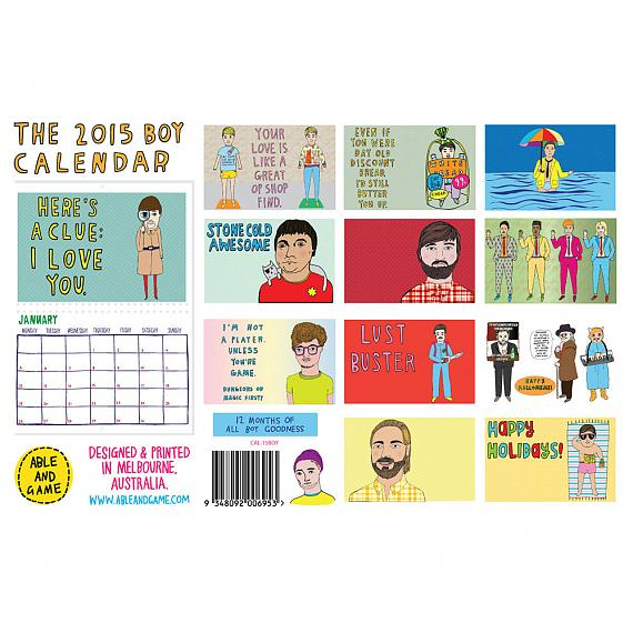 All illustrations from the 2015 Boy Calendar made in Melbourne by Able and Game
