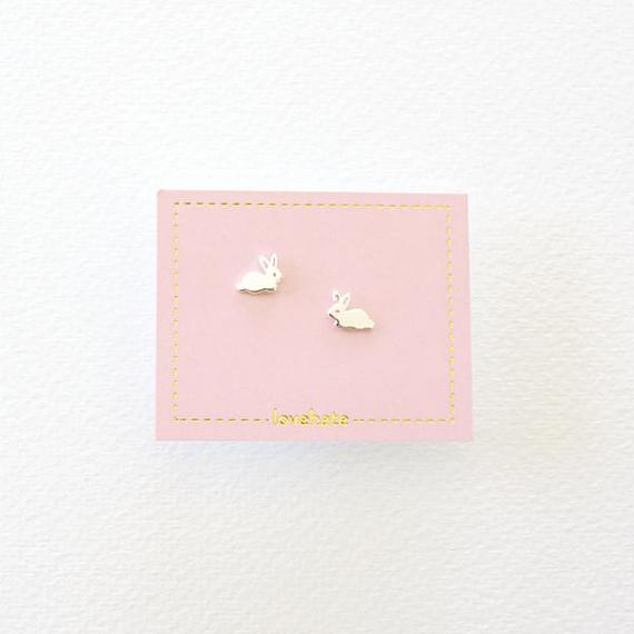 Childrens Stud Earrings - Silver Little Bunnies - designed in Melbourne by LoveHate