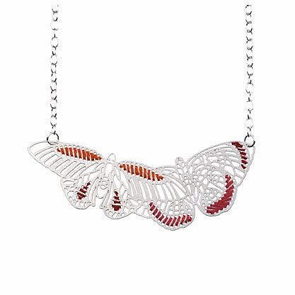 Woven Butterflies Necklace Bright by Polli