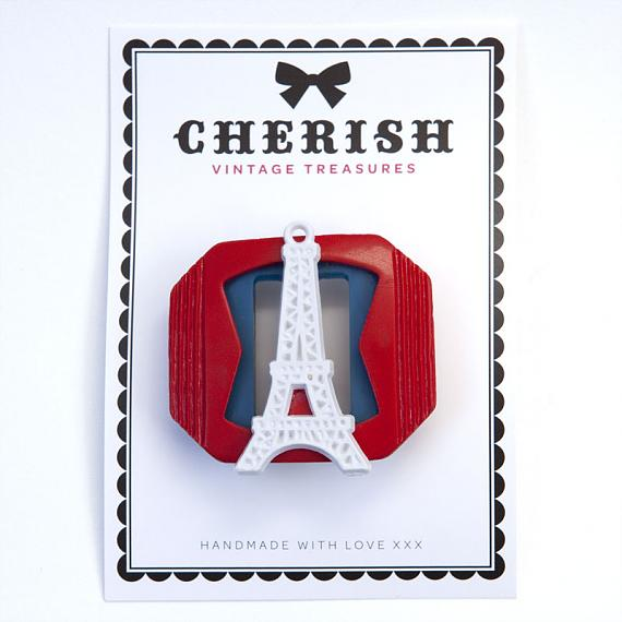 Red, White & Blue Eiffel Tower Brooch by Cherish Vintage Treasures
