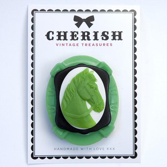 Green Pony Brooch by Cherish Vintage Treasures