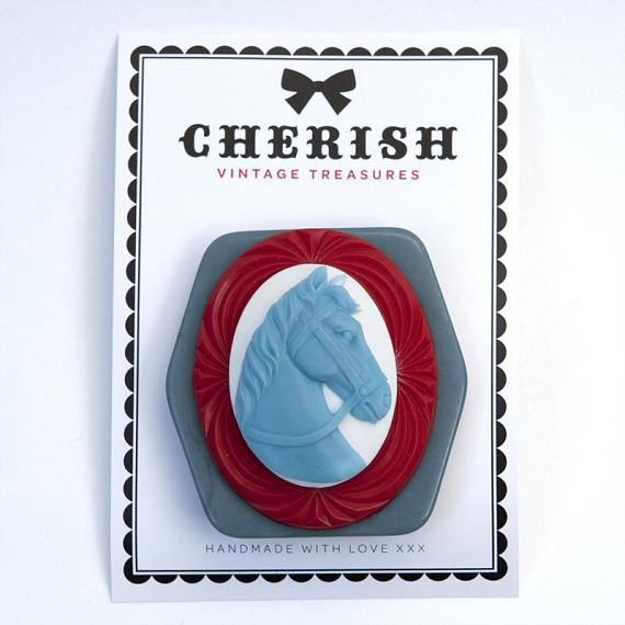 Blue & Red Pony Brooch by Cherish Vintage Treasures
