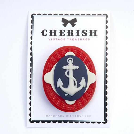 Red, White & Navy Blue Anchor Brooch by Cherish Vintage Treasures