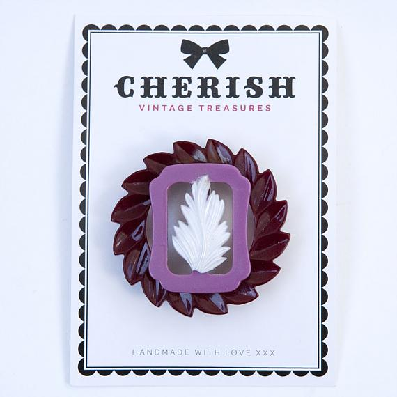 Ruby Feather Brooch by Cherish Vintage Treasures