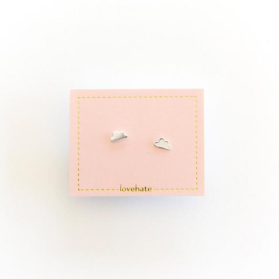 Childrens Stud Earrings - Silver Little Clouds - designed in Melbourne by LoveHate