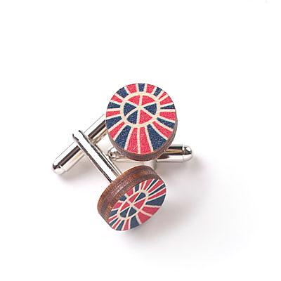 Wooden Zulu Cufflinks - Pink & Blue by Polli