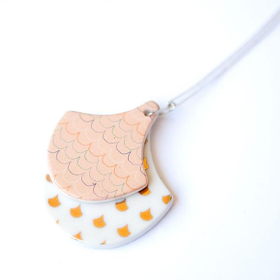 Double Ceramic Ginko Pendant Coral Pink designed in Australia by Love Hate