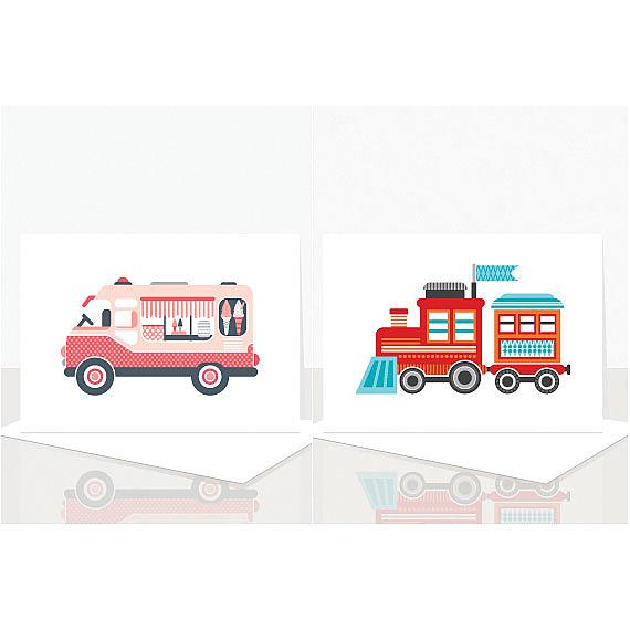 Train and Ice Cream Truck Cards from the Eenie Meenie Miney Assorted Greeting Card Pack designed and handmade in Australian by Ella Leach Designs