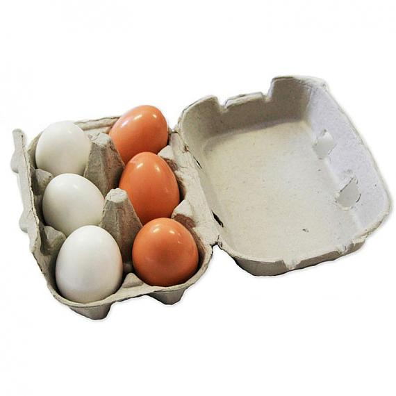 6 Wooden Eggs in Cardboard Egg Carton designed in Australia by Fun Factory