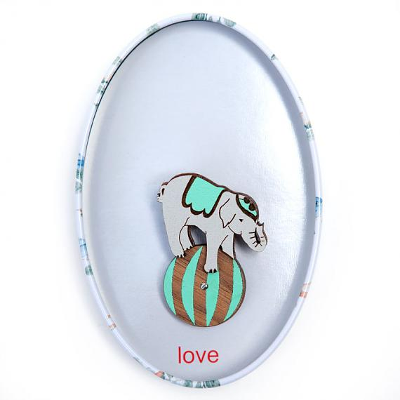 Elephant on Ball Brooch Mint by love hate