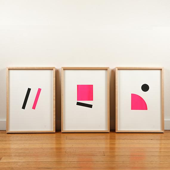 Pink Neon Geometric Limited Edition Screen Prints on Paper handmade in Australia by me and amber