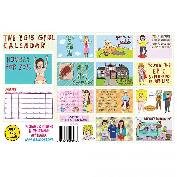 All illustrations from the 2015 Girl Calendar made in Melbourne by Able and Game