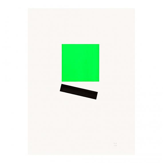 Green Square Neon Geometric Limited Edition Screen Print on Paper handmade in Australia by me and amber