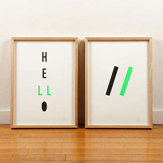 Green Neon Geometric and Typographic Limited Edition Screen Prints on Paper handmade in Australia by me and amber