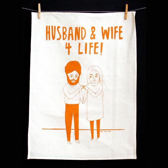 Tea Towel - Husband and Wife for Life - made in Melbourne by Able & Game
