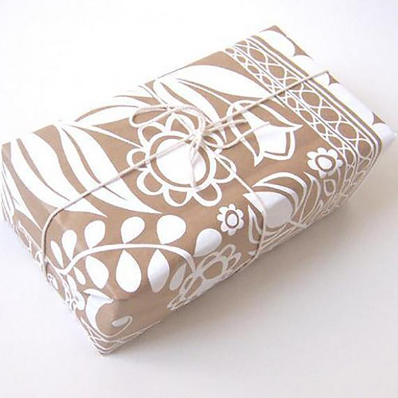 As wrapping - Polish Folk Art Floral Screen Print - White on Natural Kraft Paper