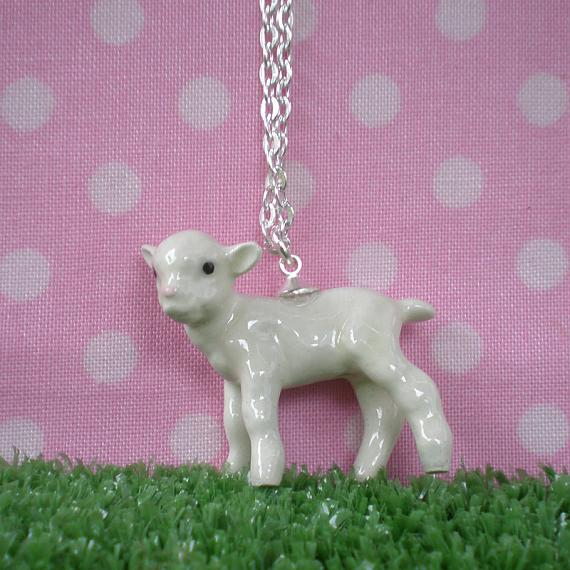 Lamb Hand Painted Pendant on Silver Chain by Meow Girl