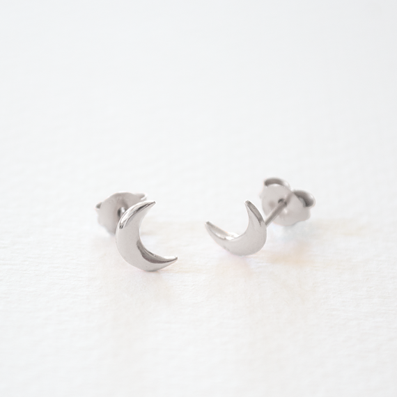 Childrens Stud Earrings - Silver Little Moons - designed in Melbourne by LoveHate