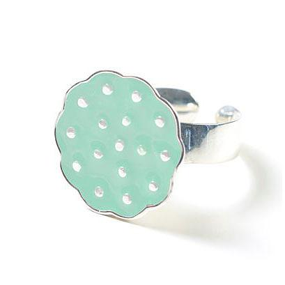 Sterling Silver Lotus Ring - Mint by Polli
