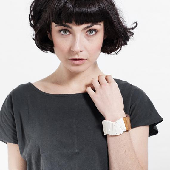 Wooden Fan Bangle - White   Natural, designed in Melbourne by mooku