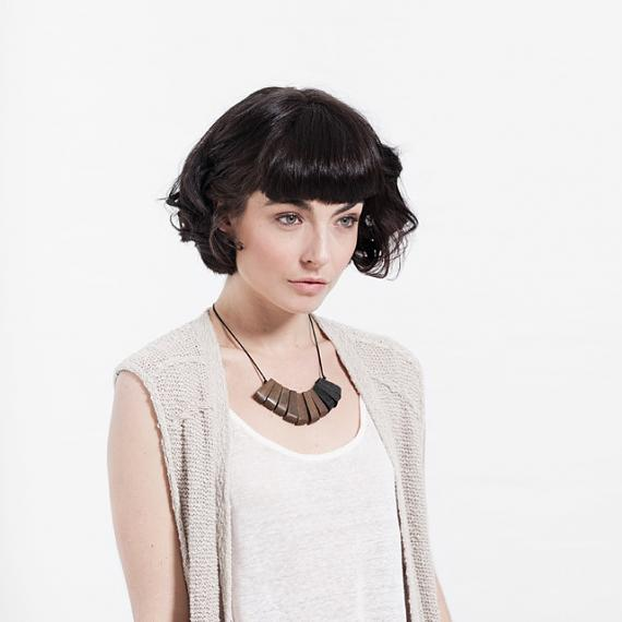 Fan Necklace - Black | Greywood, designed in Melbourne by mooku