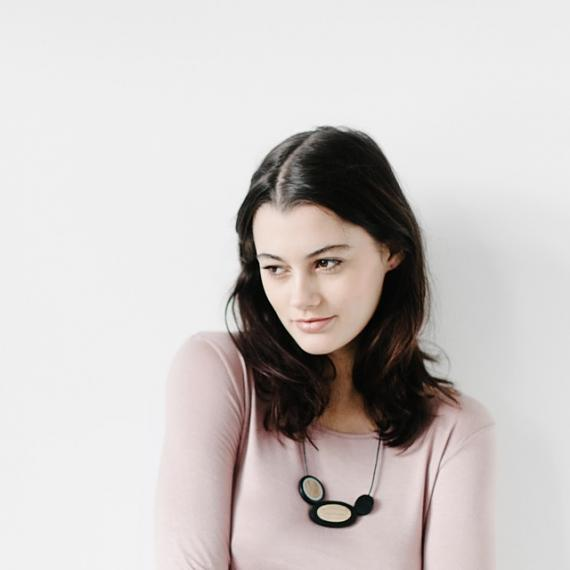 Resin Rockpool Necklace - Black   Bamboo, designed in Melbourne by mooku