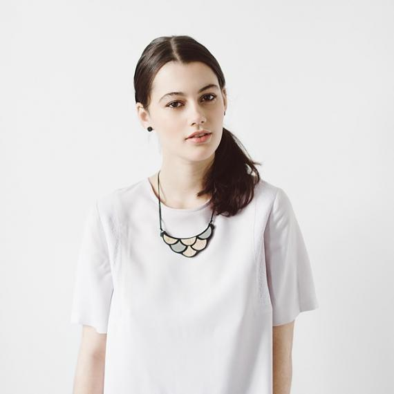 Scale Resin Necklace - Black | Bamboo, designed in Melbourne by mooku