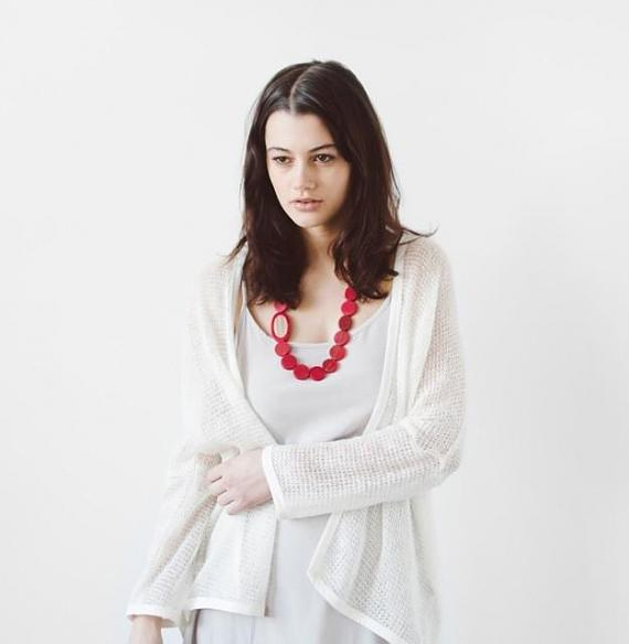 Resin Pebble Necklace - Red   Bamboo designed in Melbourne by mooku