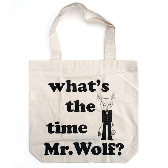 What's the Time Mr Wolf Tote by Bob Boutique