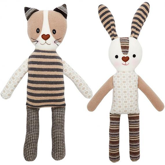 Neutral Stripe Cat and Neutral Stripe Rabbit designed in Australia by Micky & Stevie