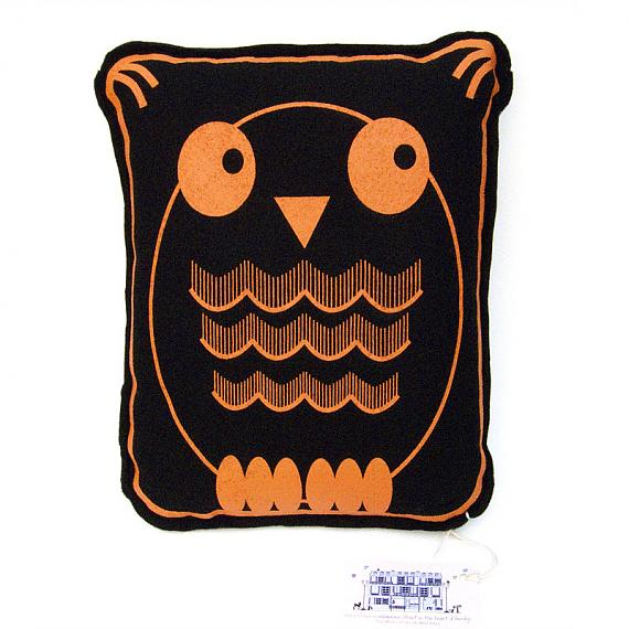 Owl Felt Cushion Orange by Bob Boutique