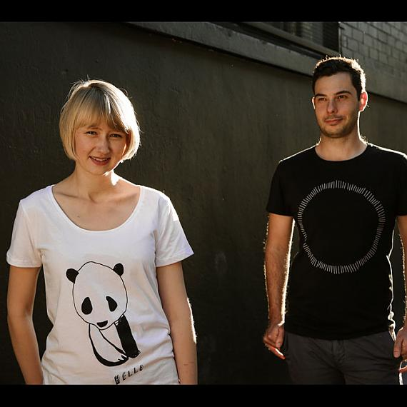 White Hello Panda Womens T-shirt and Black Circle Mens T-shirt made in Australia by me and amber