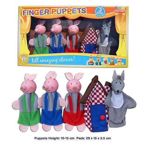 Wooden and Fabric Finger Puppet 5 Piece Set - Three Little Pigs designed in Australia by Fun Factory