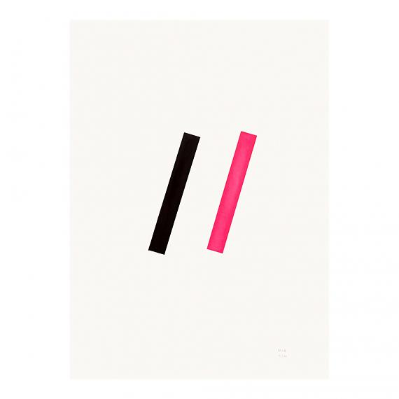 Pink Line Neon Geometric Limited Edition Screen Print on Paper handmade in Australia by me and amber