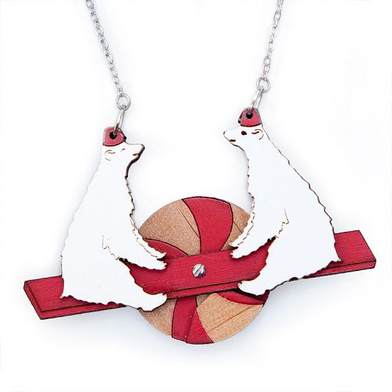 Polar Bear See-Saw Necklace by love hate
