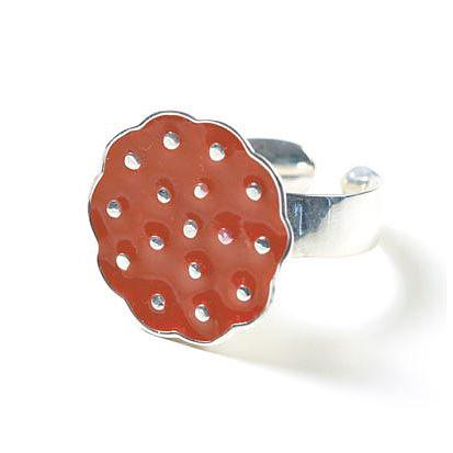 Sterling Silver Lotus Ring - Vermillion by Polli