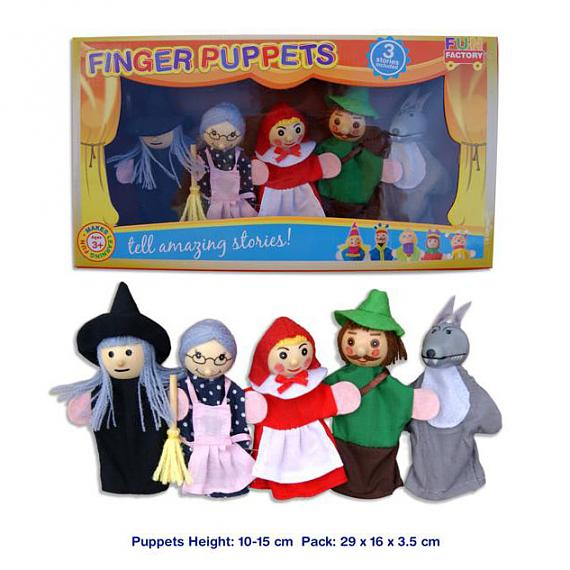 Wooden Finger Puppet 5 Piece Set - Red Riding Hood designed in Australia by Fun Factory