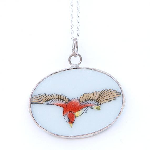Red Bird Swooping Oval Vintage Crockery Necklace by Bird of Play