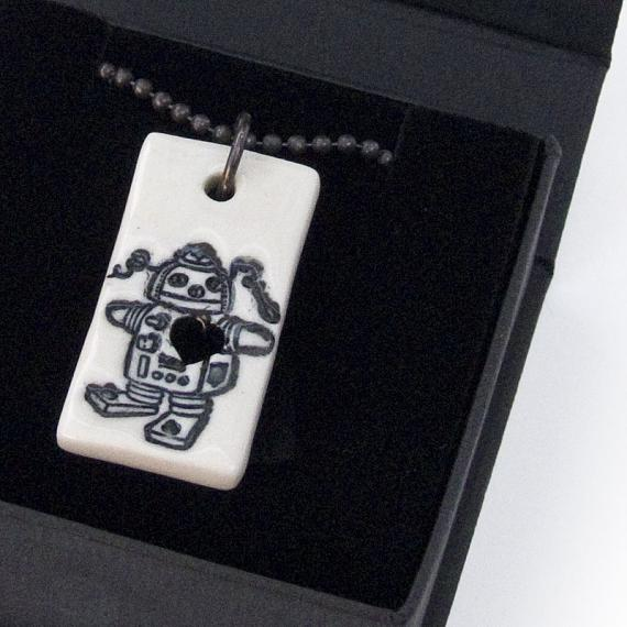 Robot Girl Porcelain Pendant by Iggy and Lou Lou