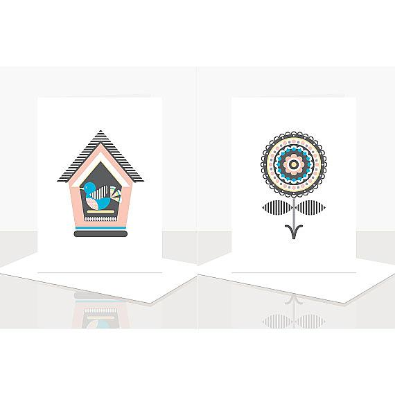 Birdhouse and Flower Cards from Scandi Obsession Assorted Greeting Card Pack designed and handmade in Australia by Ella Leach Designs