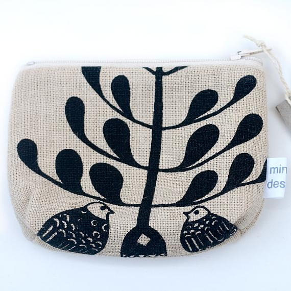 Lovebirds Standing Purse - Black on Natural by Mingus