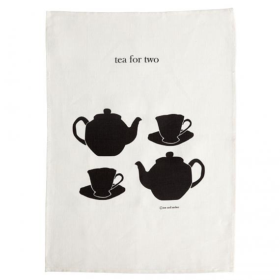 Tea For Two linen tea towel hand screen printed in Australia by me and amber