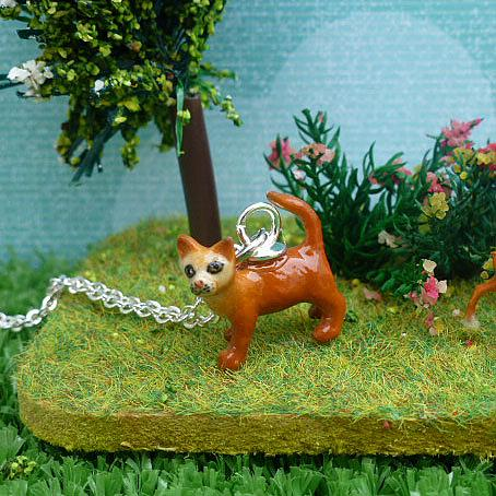 Teeny Ginger Cat Pendant on Silver Chain by Meow Girl