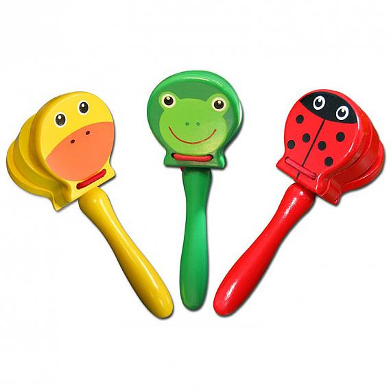 Wooden Animal Castanets With Handle designed in Australia by Fun Factory